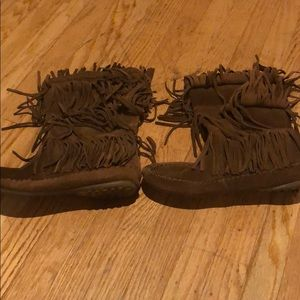 Moccasin leather booties size 10